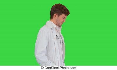 mains, marche, manteau, docteur masculin, key., devant, ...