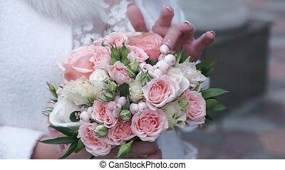 mains, mariée, bouquet, beau, mariage
