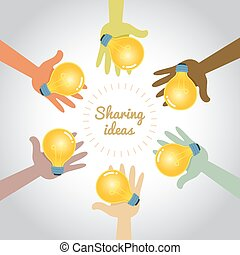 mains, multi, partage, idées, coloré