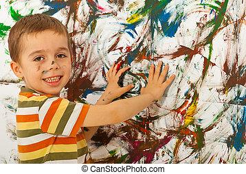 mains, mur, enfant garçon, peinture