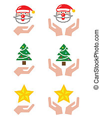 mains, -, noël, santa, icônes