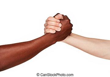 mains, noir, moderne, poignée main, humain, blanc