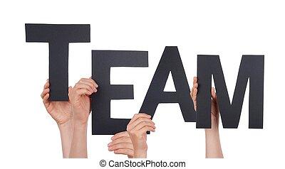 mains, noir, tenue, équipe
