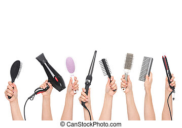 mains, outils, tenue, coiffure