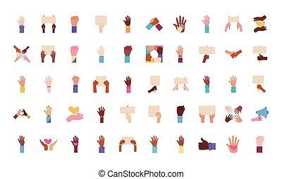 mains, paquet, protestation, ensemble, icônes, cinquante