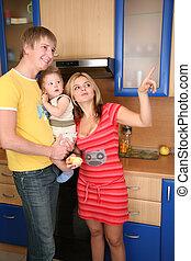 mains, parents, cuisine, enfant