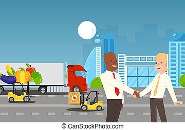 mains, partenaires, vecteur, gens, secousse, illustration, réussi, accord, business