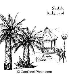 mains, paume, dessin, exotique, -, arbres, jardin