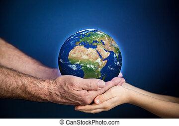 mains, planète, enfant avoirs, la terre, homme aîné