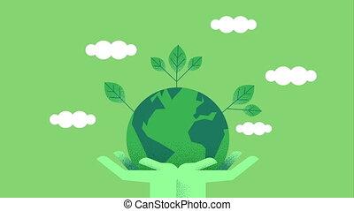 mains, planète, vert, animation, tenue, gens, la terre