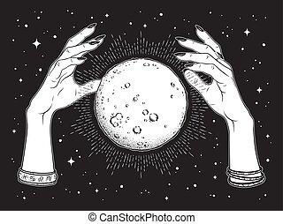 mains pleines, diseur de bonne aventure, lune