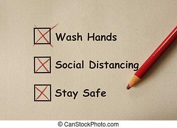 mains, prévention, distancing, séjour, social, sûr, laver...