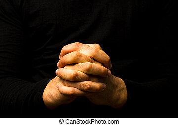 mains, prière