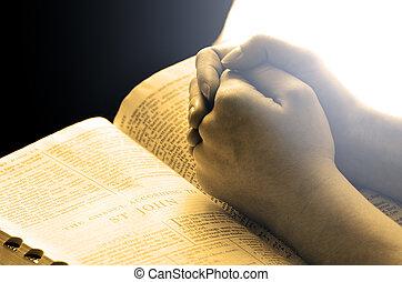 mains, prier, sur, bible