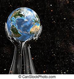 mains, prise, la terre, dans, espace