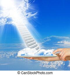 mains, prise, pc tablette, à, escalier, dans, ciel
