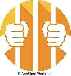 mains, prison, tenue, barres, plat, icône