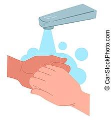 mains, protecteur, hygiène, mesure, frottement, lavage