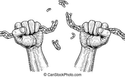 mains, rupture, liens, liberté, chaîne, conception