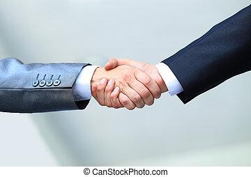 mains secouer, bureau, professionnels