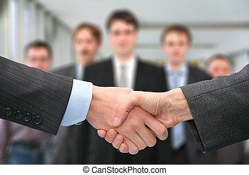 mains secouer, equipe affaires