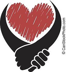 mains, solidarité, icône