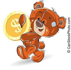 mains, teddy, or, ours, dollar, gai, arrière-plan., dessin animé, porte, blanc