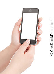 mains, tenant téléphone, thumb., écran, moderne, isolé, arrière-plan., urgent, femelle noire, vide, bouton blanc, intelligent