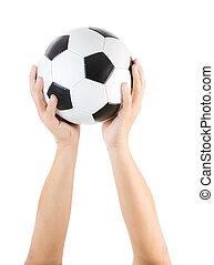 mains, tenir boule, isolé, football, blanc