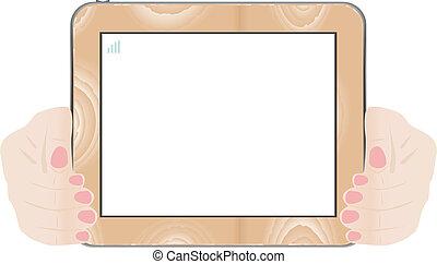 mains, tenue, écran tactile, bois, pc tablette, à, écran blanc