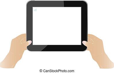 mains, tenue, écran tactile, pc tablette, à, blanc, écran