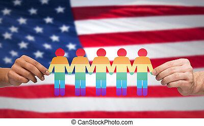 mains, tenue, arc-en-ciel, gens, sur, drapeau américain