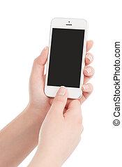 mains, tenue, arrière-plan., thumb., écran, moderne, isolé, téléphone, urgent, femme, vide, bouton blanc, intelligent