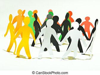 mains, tenue, communauté, gens