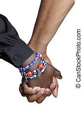 mains, tenue, couple, haut fin