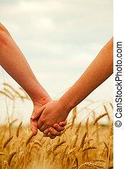 mains, tenue, couple, jeune