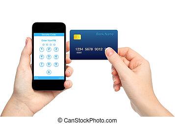 mains, tenue, crédit, entrer, carte, code, isolé, épingle, femme, téléphone
