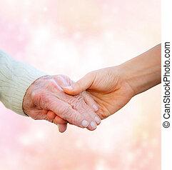 mains, tenue, femme, jeune, personne agee, dame