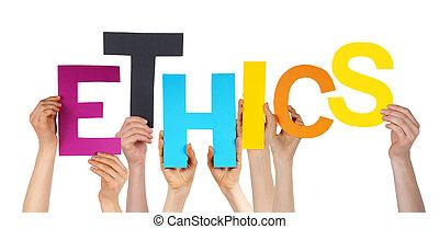 mains, tenue, gens, coloré, éthique, beaucoup, mot