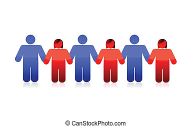 mains, tenue, gens, illustration