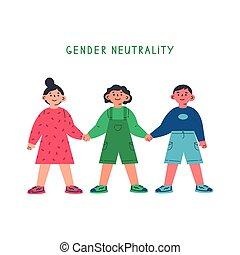 mains, tenue, girl, enfant garçon, genre, neutre