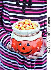 mains, tenue, halloween, bonbon, childs