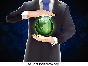 mains, tenue, la terre, vert