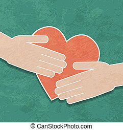 mains, tenue, les, heart., charité