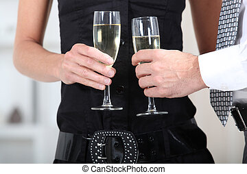 mains, tenue, lunettes vin