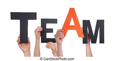 mains, tenue, noir, orange, équipe