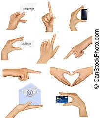 mains, tenue, objects., ensemble