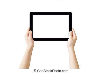 mains, tenue, pc tablette