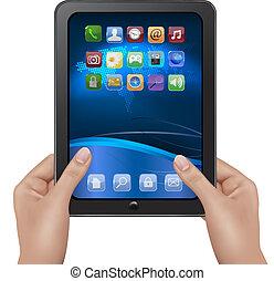 mains, tenue, tablette, numérique
