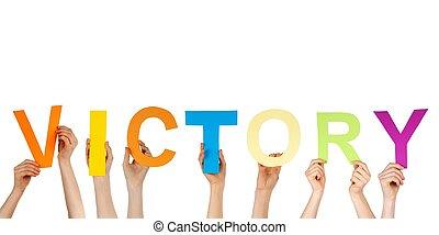 mains, tenue, victoire